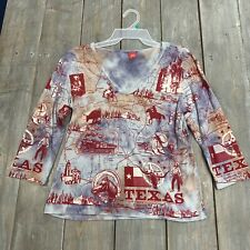 Glima womens 3/4 sleeve blue red v neck blouse top Texas cotton USA adult large