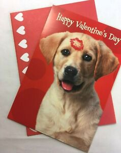 Leanin TreeValentine's Day Card Golden Puppy -- shipped w cardboard