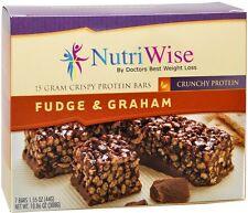 NUTRIWISE - Protein Diet Bars | Fudge & Graham  | 7/Box, Gluten Free, Low Fat