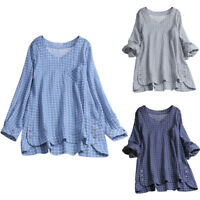 Plus Size Womens Check Long Sleeve Shirt Ladies Loose Casual Tunic Tops Blouse