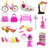55pcs Clothes Party Gown Outfits For Barbie Dolls Accessories Shoes Bags