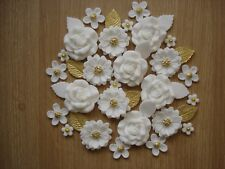 WHITE,GOLD  ROSE BOUQUET Edible Sugar Paste Flowers Cup Cake Decorations Toppers