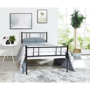 Einzelbett Metallbett Bettgestell Schlafzimmerbett Bettrahmen Schwarz 90x190cm