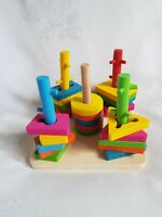 Kids Wooden Twister Toy Shape Sorter Toddlers Puzzle Game Preschool Tactile Game