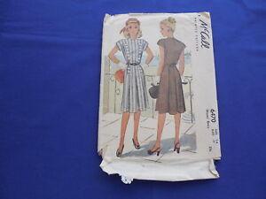Vintage McCall's Dress Pattern 1946 #6470 Size 14 Bust 32