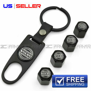 VALVE STEM CAPS KEYCHAIN KEYRING WHEEL FOR VOLVO KEY FOB KEYS VS81 - US SELLER