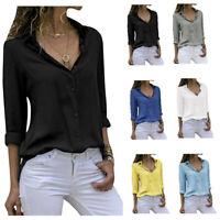 Women's  Chiffon Long Sleeve V Neck Blouses Tops Button Down Business Blouse