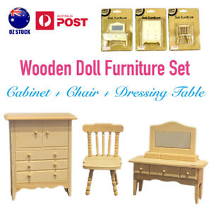 3pc Wooden Doll Furniture Dollhouse Cabinet Chair Dressing Table Wood DIY Craft