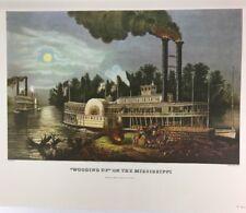 "Currier & Ives Lithograph ""Wooding Up"" Mississippi Palmer Print Art VTG P-1220"