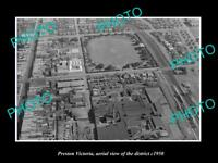 OLD LARGE HISTORIC PHOTO PRESTON VICTORIA AERIAL VIEW OF THE DISTRICT c1950