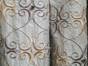 "DUPIONI EYELET TAN SILK CUSTOM EMBROIDERED LINED FRENCH PLEAT PANEL 64"" W x 118"""