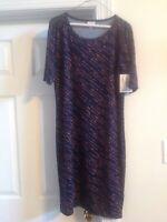 NWT LADIES SIZE XL LuLaRoe JULIA NAVY BLUE & ORANGE PRINT DRESS