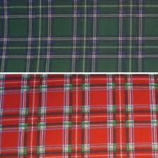 Polycotton Fabric Scottish Style Red & Green Tartan Plaid Check Gingham