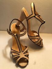 New BETTY MULLER  Retro Strappy T-Cross Basket Weave BEAUTIFUL Size 38 ITALY