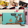 EG_ WOMEN AWESOME LONG FAUX LEATHER DOG WALLET DOUBLE ZIP HASP PURSE CARD HOLDER
