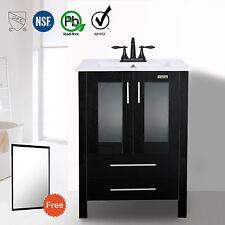 """24"""" Black Bathroom Vanity W/ Mirror 3 Hole Drop in Ceramic Sink Orb Faucet Set"""