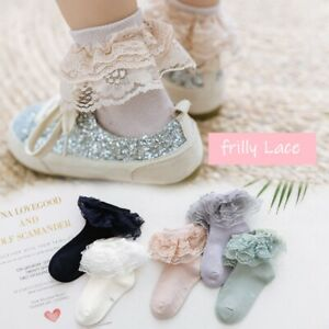 Girls Kids Toddlers Frilly Lace Ankle Christening Wedding School Socks 9m -12Y