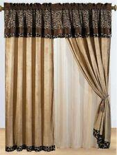 8 pc Brown Tan Zebra Giraffe Curtains Panels Drapes Valance Sheer Set 84 inch L