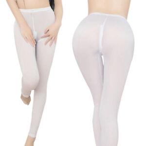 Women's Sexy Sheer Leggings Ladies Skinny Zipper Open Crotch Trousers Long Pants