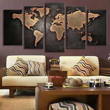 Abstract Canvas Painting Prints Living Room Home Wall Decor Art World Map-S