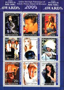 Kyrgyzstan 2000 Music Awards Britney Spears M. Jackson 9v MNH Full Sheet. (EX-3)