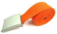 Unisex de Calidad Tela Algodón Liso Banda Cinturón Hebilla Plata 132cm