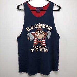 Vtg 1996 Taz U.S. Olympic Training Team Tank Top Men's XS Warner Bros. Red Blue