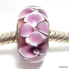 PURPLE FLOWERS Murano Glass European Bracelet Charm Bead