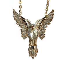 Gold Tone Eagle Rhinestone Pendant Necklace with 20inch Oval Gold Plated Chain