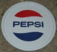 Vtg Advertising Original 70s Pepsi Cola Logo Round Serving Tray Retro Barware