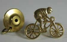 Cyclist Biker Bicycle Tie Tac Pin Vintage 18K Solid Yellow Gold Racing