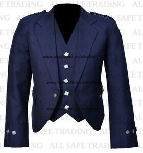 """Scottish Blue Argyle Kilt Jacket With Waistcoat/Vest - Sizes 36""""- 54"""""""