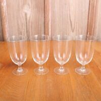 4 Clear Glass Footed Goblets