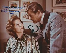 ROGER MOORE & LOIS MAXWELL SIGNED 007 JAMES BOND 8x10 PHOTO - UACC RD AUTOGRAPH