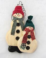 Country Primitive Rustic Folk Art Wood Wooden Snowman Christmas Tree Ornament