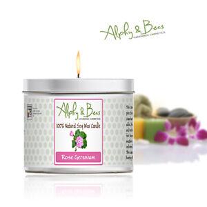 Alphy&Becs Candles Rose Geranium Eco Soy 200gr HandMade In UK