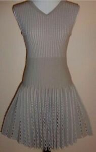 ALAIA KNIT WOOL SLEEVELESS FIT & FLARE DRESS PUNCHED FRINGE SKIRT SIZE 40 BNWT