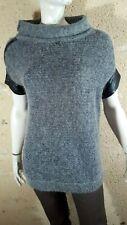 GUESS Taille 34 / 36  pull long gris manches courtes laine mélangée mohair