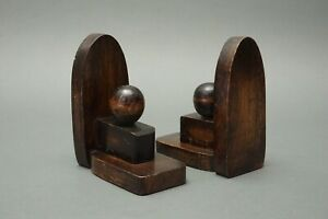 Pair Art Deco Bookends Wood Geometric Forms Ball 1.54Z