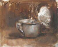 WHITE ROSE Brass Cup Monochromatic Still Life Original Oil Painting Day Realism