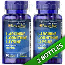 L-Arginine L-Ornithine L-Lysine Tri Amino Acids 2X60 Caps Puritan's Pride