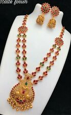 Designer multi color gemstone string with peacock theme pendant necklace set