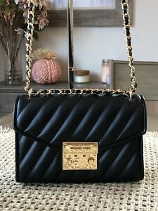 New! Michael Kors Small Rose Quilted Leather  Shoulder Flap Bag Black/Gold $398