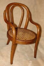 """Antique Bentwood Doll Chair Salesman Sample Cane Seat 12"""" tall, possibly Thonet"""