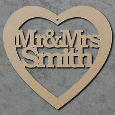Personalised Mr and Mrs Heart - Wooden Laser Cut mdf Craft Shapes