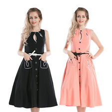 New Vintage 1950s 1960s Retro Swing Rockabilly Black Pink Party Tea Dress 6 - 26