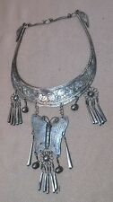 antique handmade tooled engraved ornate silver plate butterfly bib necklace lady