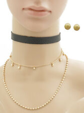 Urban Trend Black Leather Choker Double Gold Chain Necklace Ball Stud Earrings