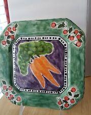 "S PINFOG 2000 CBK ltd LLC 10 1/2"" SQ Plate Carrots Tomatos Ceramic Handpainted"