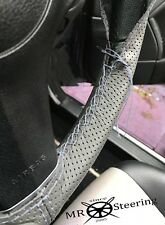 FOR VAUXHALL VIVA HB GREY PERFORATED LEATHER STEERING WHEEL COVER GREY DOUBLE ST